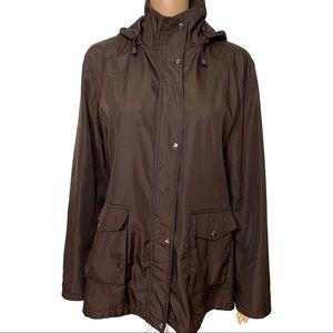 Prada Brown Hooded Zip up Button Snap Jacket